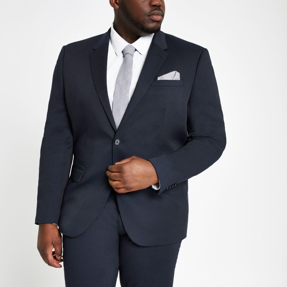 Big and Tall – Veste de costume texturée bleu marine