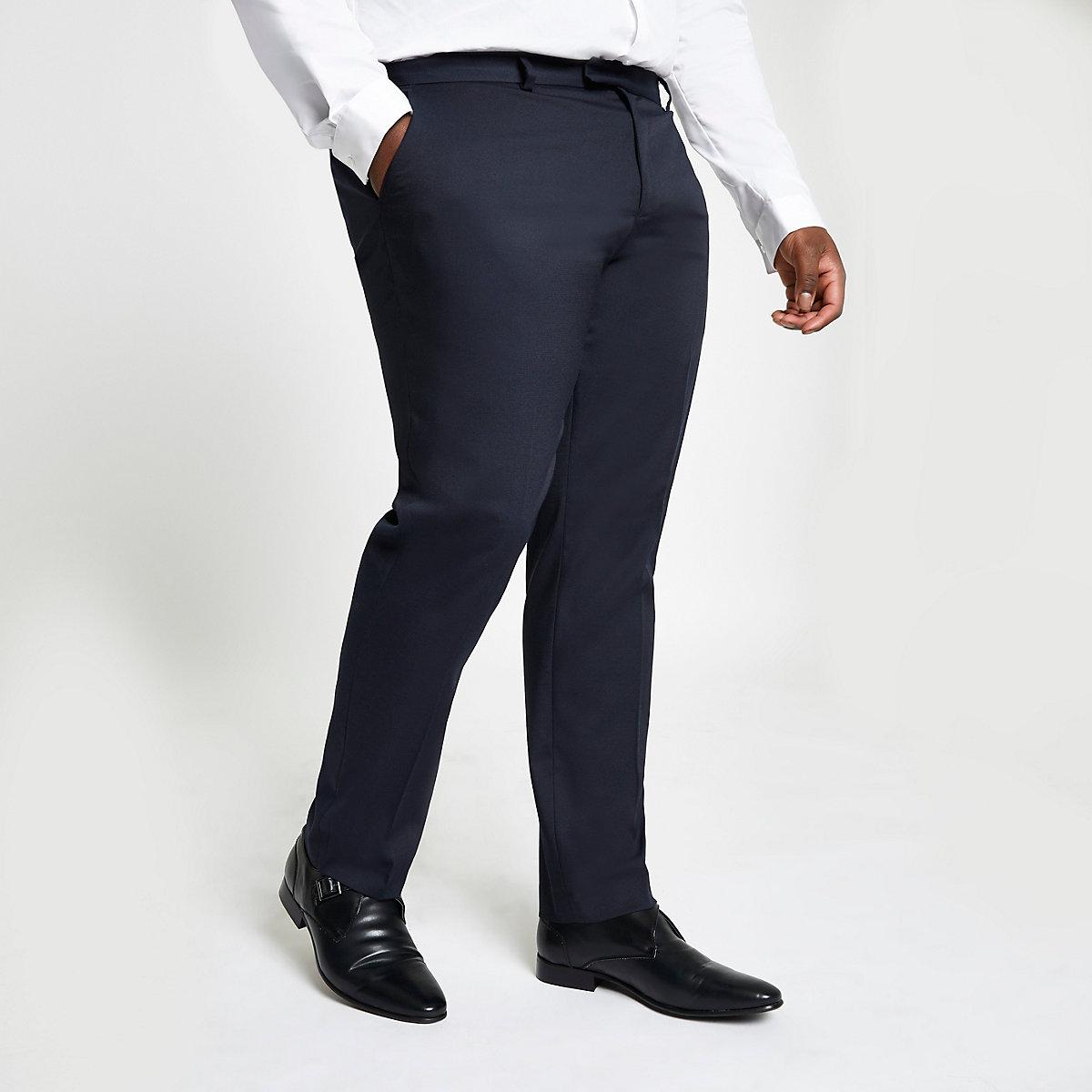 Big and Tall – Pantalon de costume bleu marine