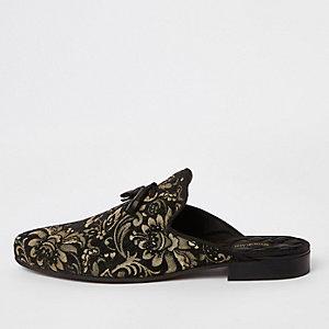 Black jacquard backless loafers