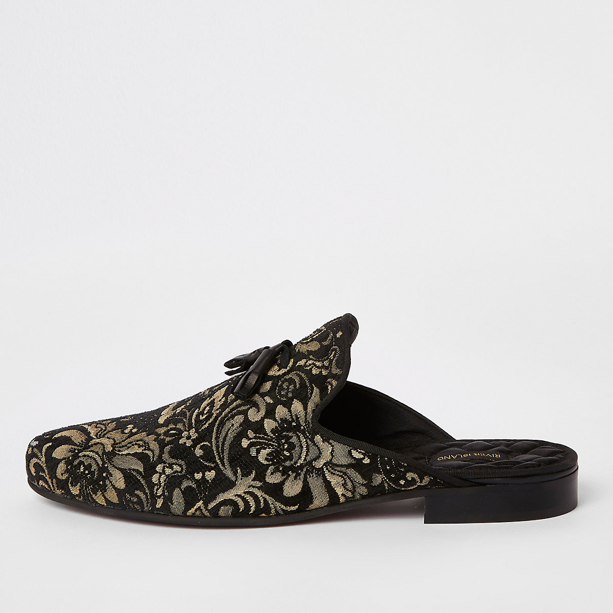 Black jacquard backless loafers