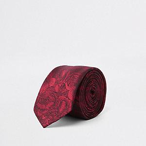 Rode stropdas met bloemenprint