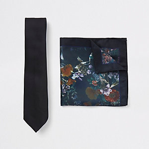 Black tie and floral pocket square set