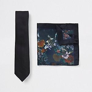 Zwarte stropdas en pochet met bloemenprint