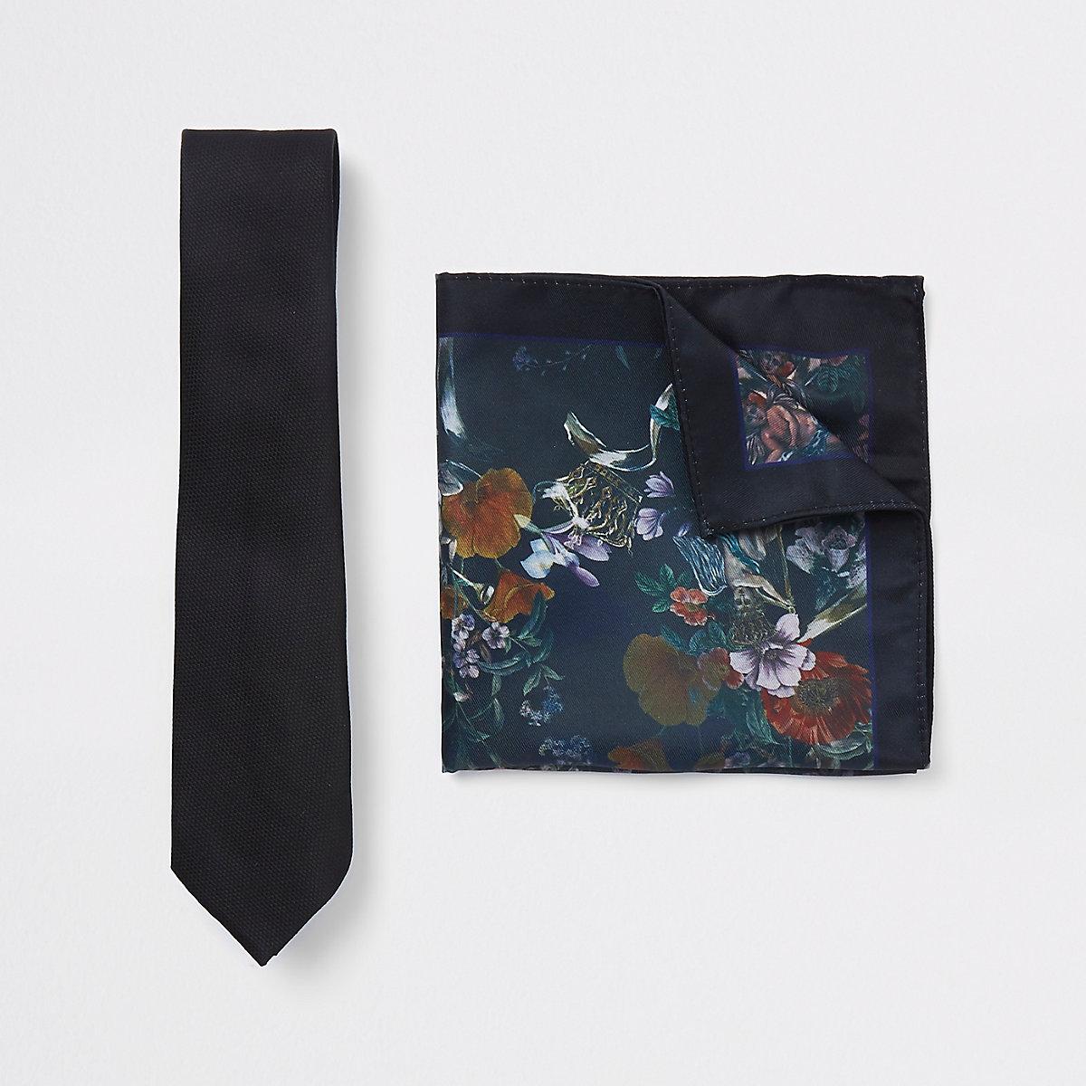 Black tie and floral pocket square set