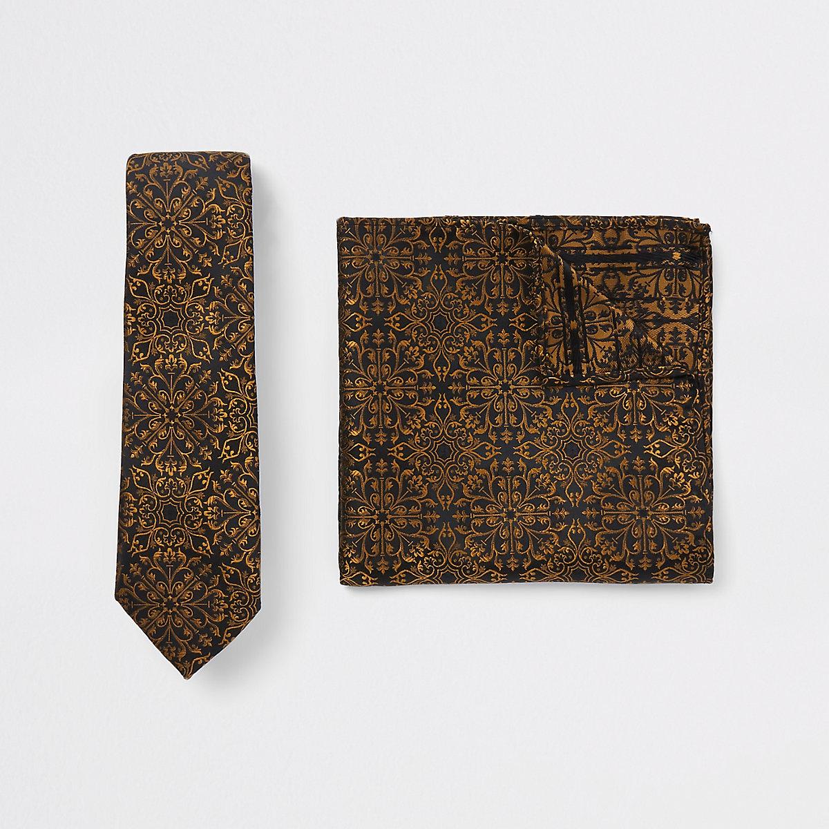 Black baroque print tie and handkerchief set