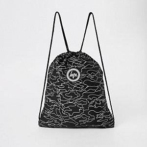 Hype – Schwarze Kordelzugtasche mit Logo