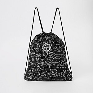 Hype black logo print drawstring bag