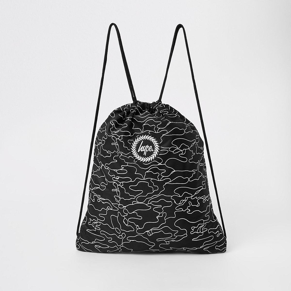 Hype black logo print drawstring bag