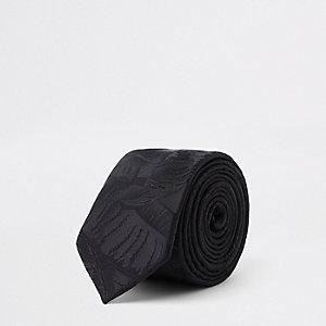Zwarte jacquard stropdas met bladprint