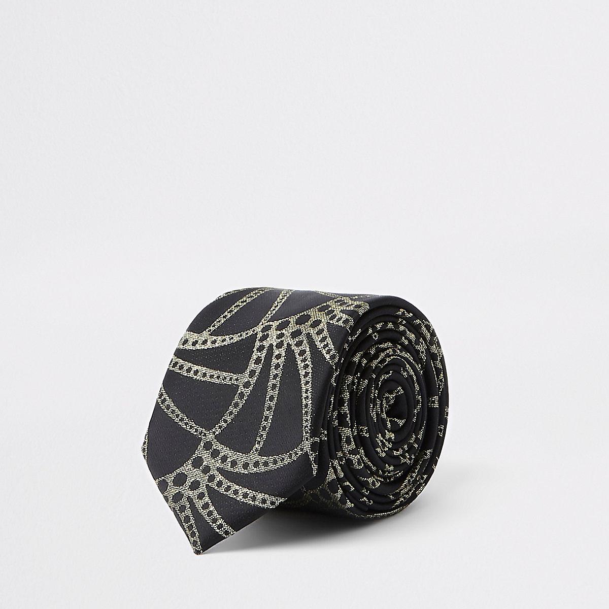 Black gold tone print luxe tie