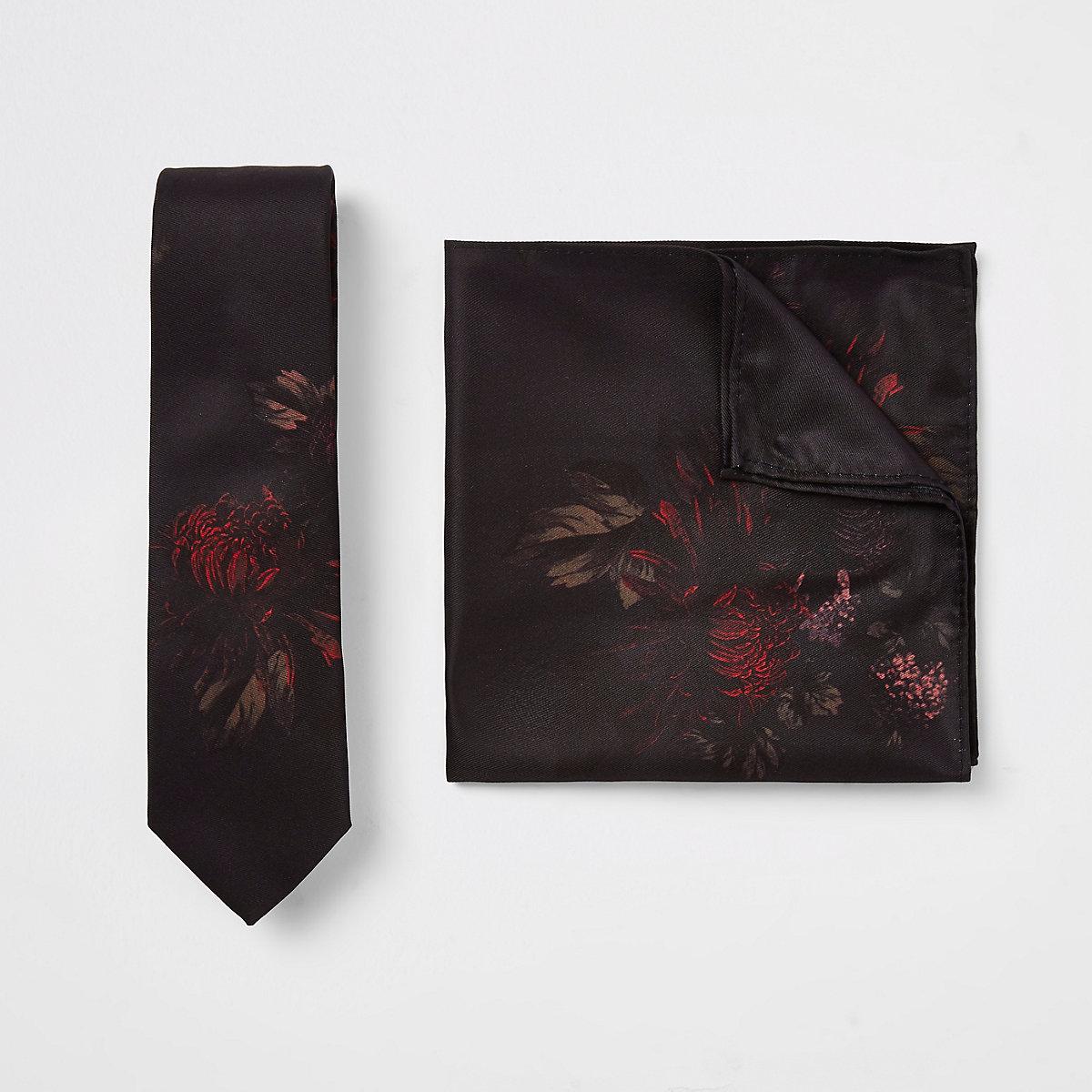 Black floral print tie and pocket square set