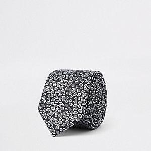 Schwarze Krawatte mit Leoparden-Print