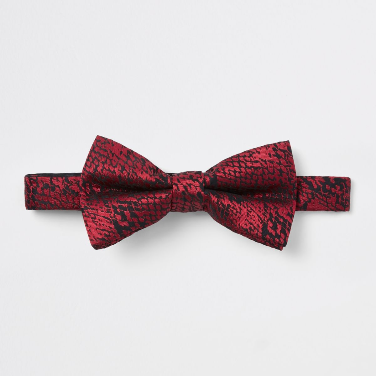 Red snake print bow tie