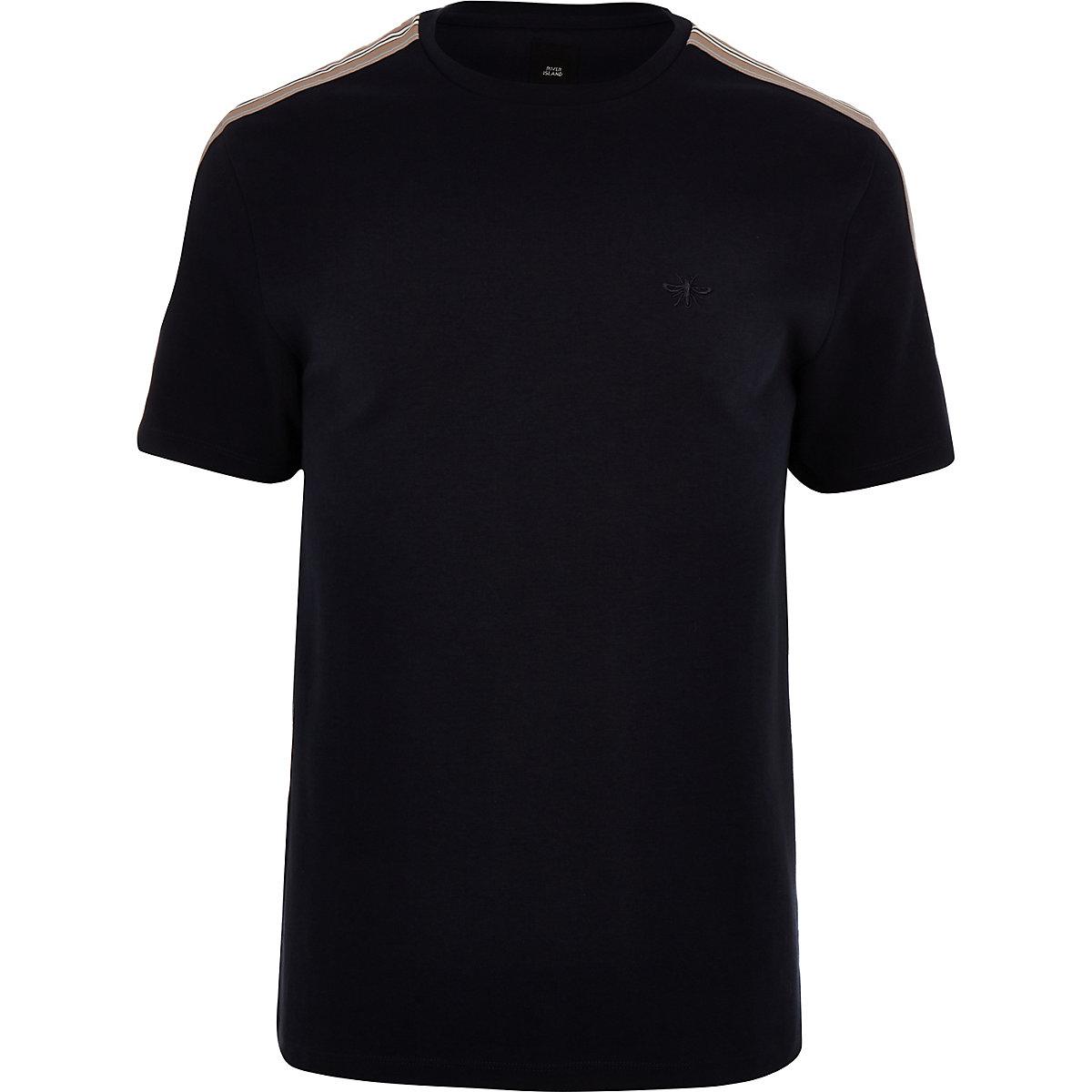 Big and Tall – T-shirt bleu marine ras-du-cou à bandes latérales