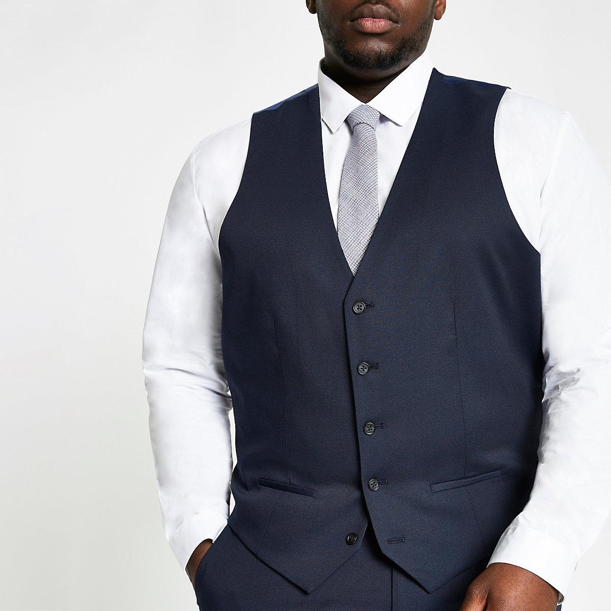 Big and Tall – Gilet de costume bleu marine