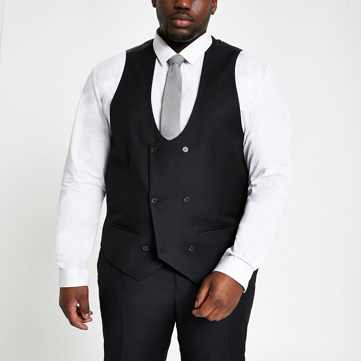 Big and Tall black double breast waistcoat