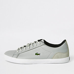Lacoste grey leather lace-up sneakers