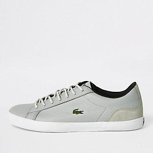 Lacoste - Grijze leren vetersneakers