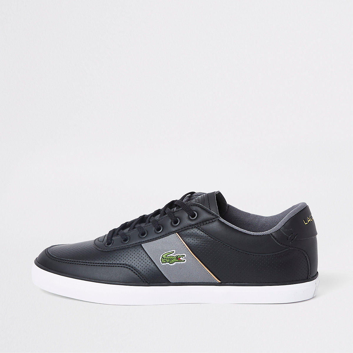 Shoes Leather Black Lacoste Courtmaster Trainers z68w7q