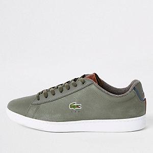 Lacoste – Grüne Ledersneaker zum Schnüren