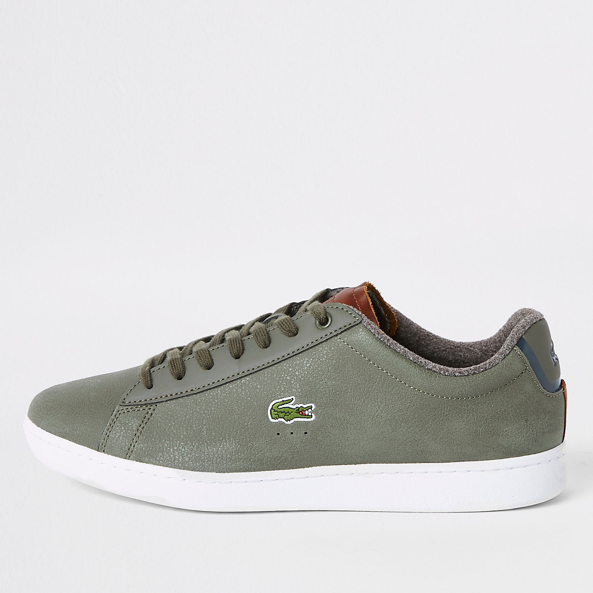 Lacoste leather green court lace-up sneakers