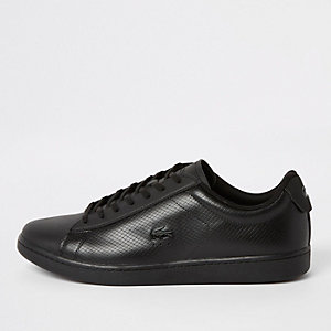 Lacoste black leather lace-up sneakers