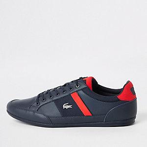 Lacoste – Marineblaue Sneaker aus Leder zum Schnüren