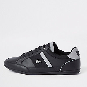Lacoste black leather lace-up trainers