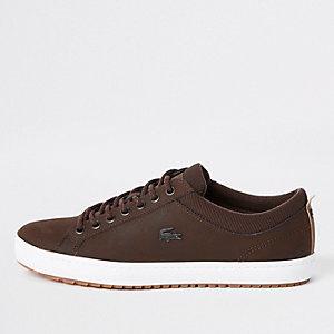 Lacoste – Braune Ledersneaker zum Schnüren