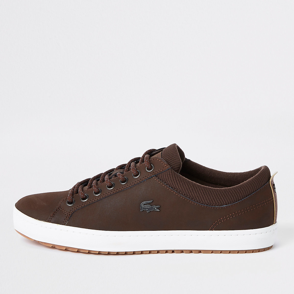 Lacoste brown leather lace-up sneakers
