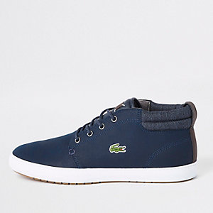 Lacoste navy leather mid top trainers
