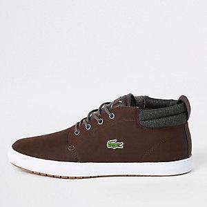 Lacoste - Bruine leren halfhoge sneakers