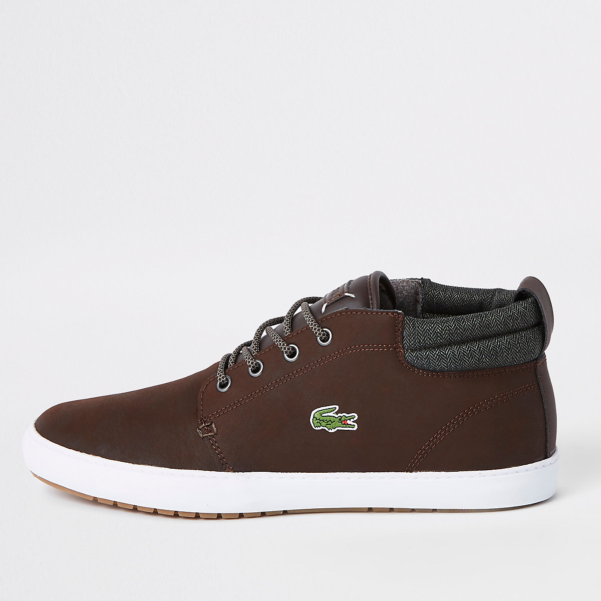 Lacoste brown leather mid top trainers