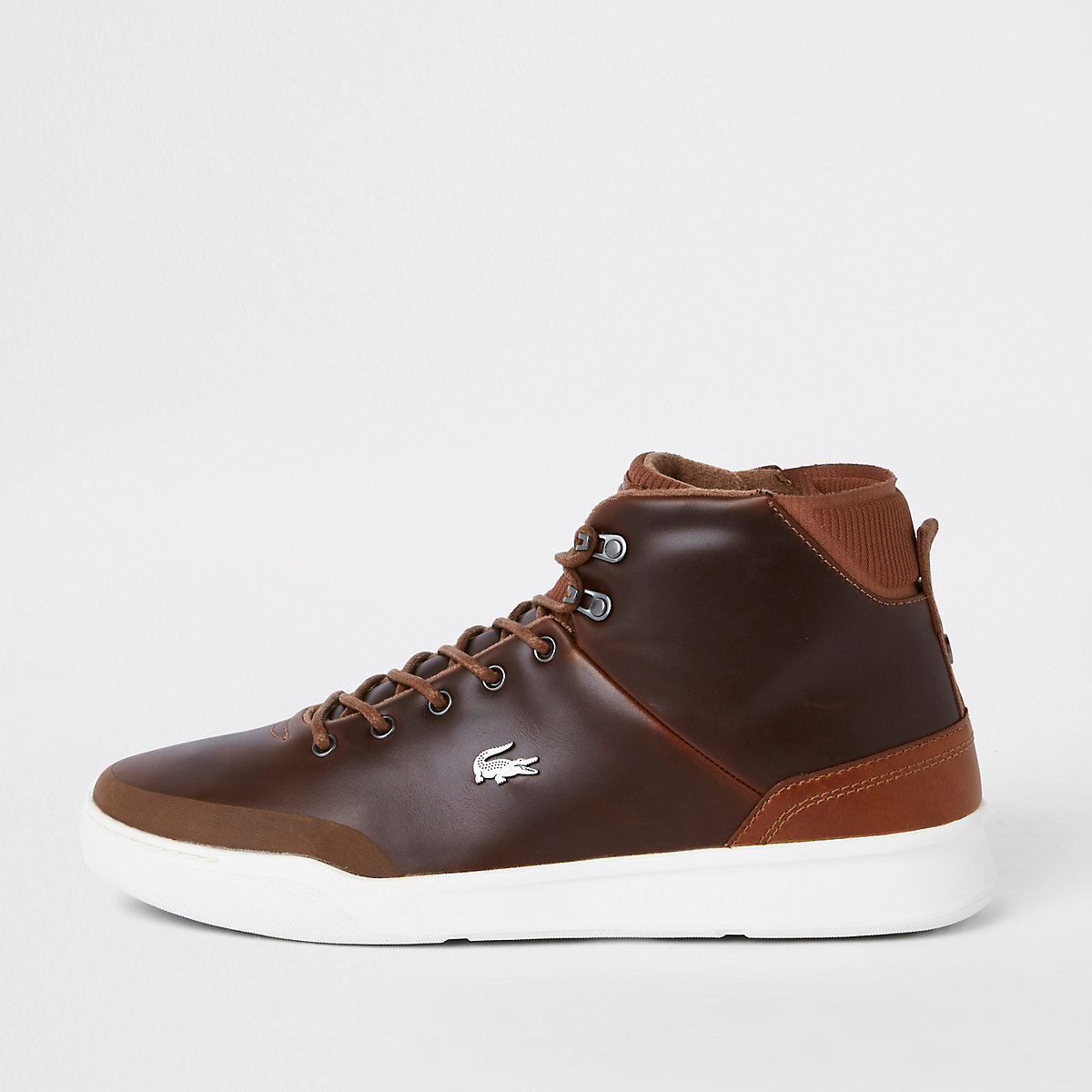 Lacoste brown leather hi top trainers