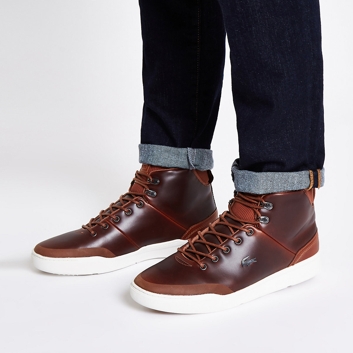 Lacoste brown leather hi top trainers - Trainers - Shoes   Boots - men e3b29e06a78