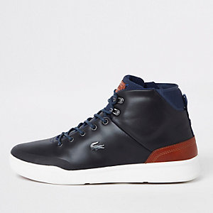 Lacoste navy leather hi top sneakers