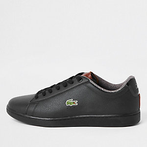 Lacoste – Schwarze Ledersneaker zum Schnüren