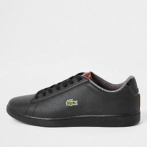 Lacoste – Baskets en cuir noires à lacets