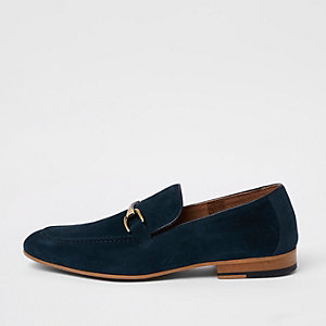 Blue suede snaffle loafers