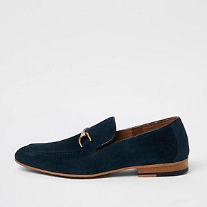 Blaue Loafer aus Wildleder