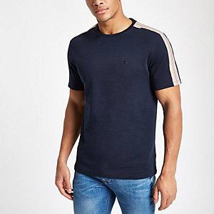 T-shirt slim bleu marine ras-du-cou à bandes latérales