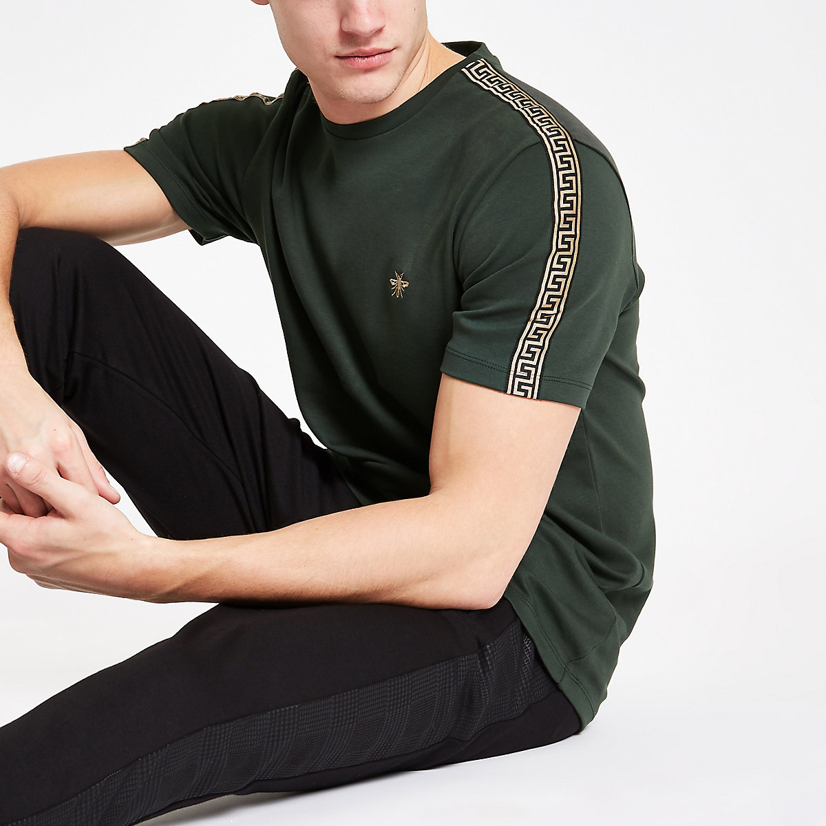 Dark green slim fit Luxe tape side T-shirt