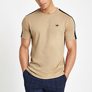 Brown slim fit wasp embroidered tape T-shirt