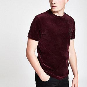 T-shirt en velours « R96 » ajusté rouge
