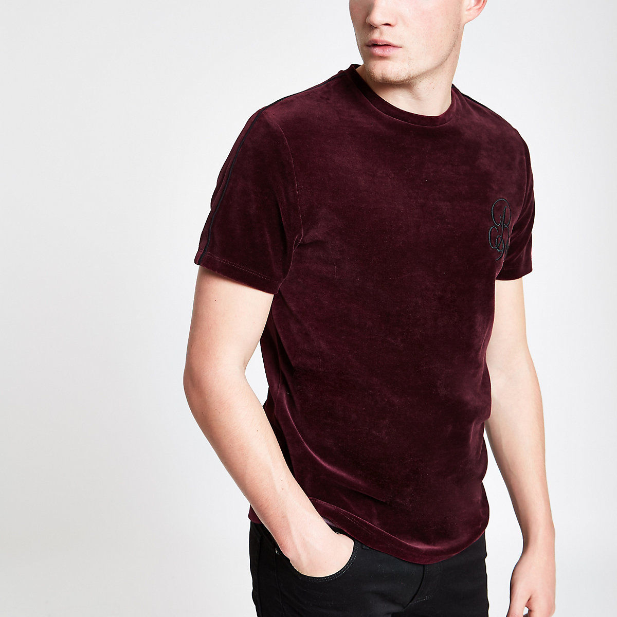 Red muscle fit 'R96' velour piped T-shirt