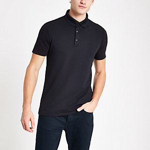 Navy muscle fit textured polo shirt