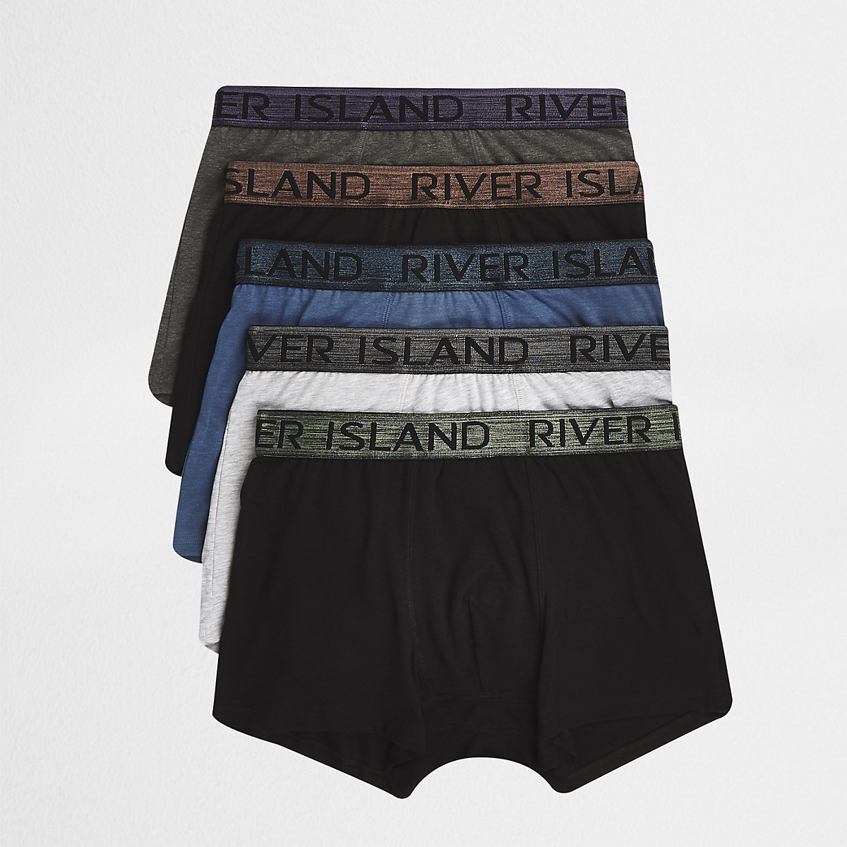 Grey RI metallic waistband trunk 5 pack