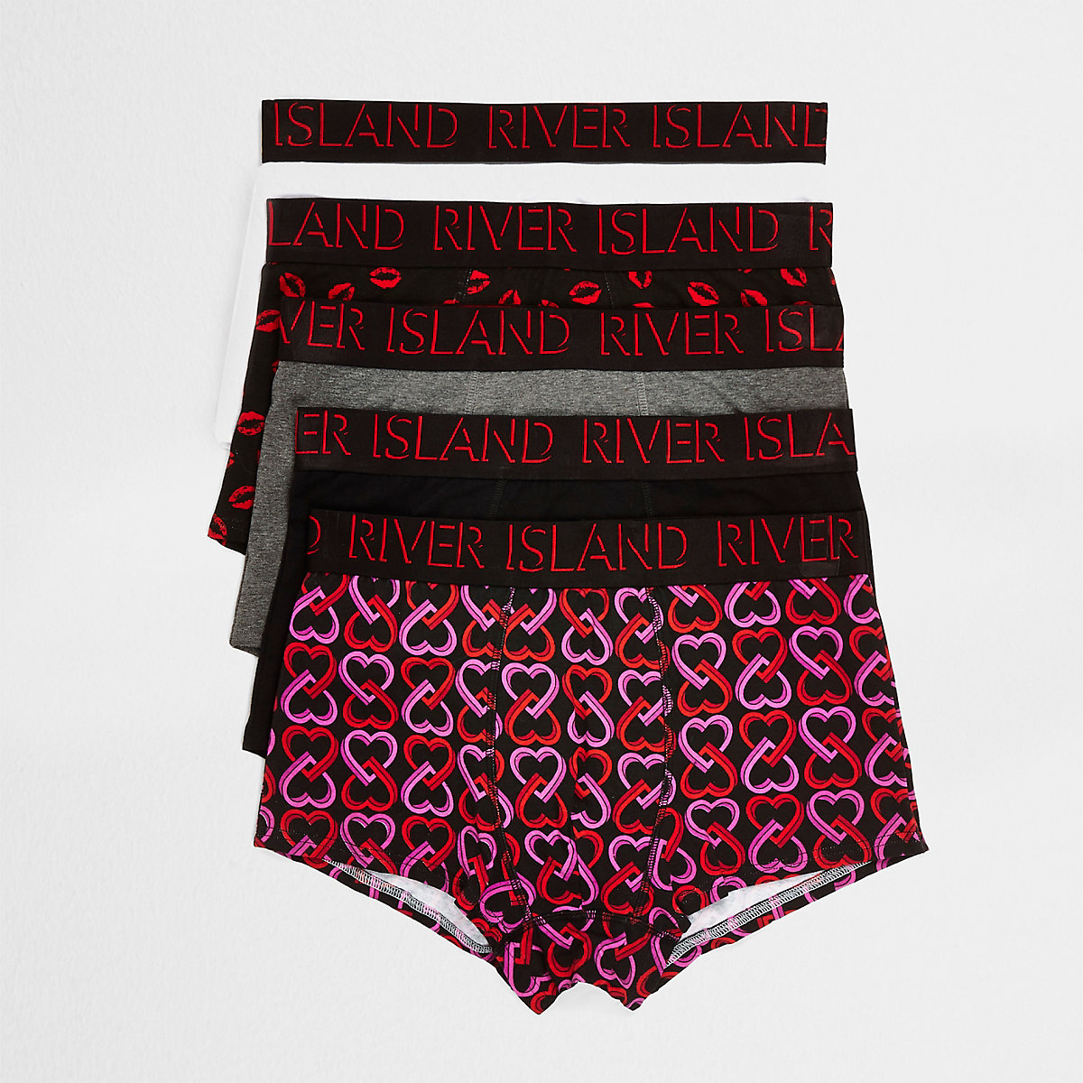 Red heart print hipsters 5 pack