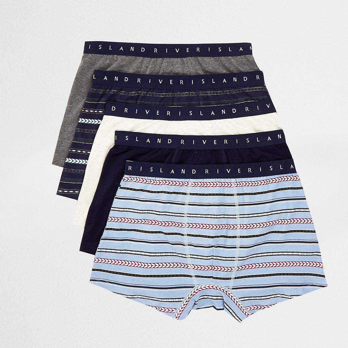 Lot de 5 boxers longs à imprimé aztèque bleus