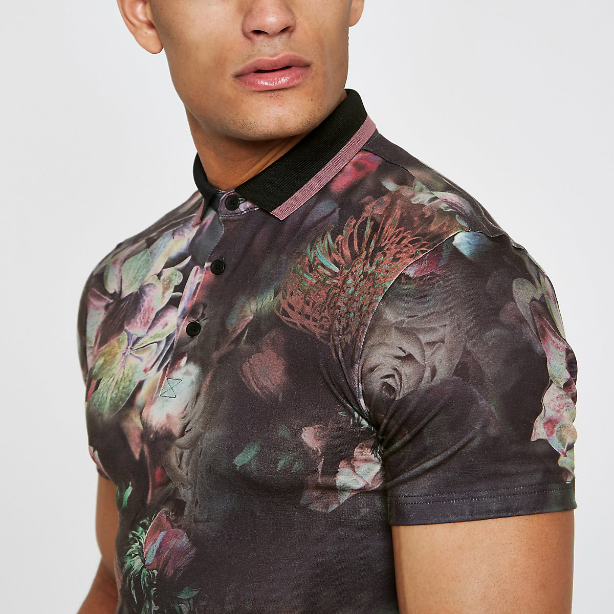 Black floral muscle fit polo shirt